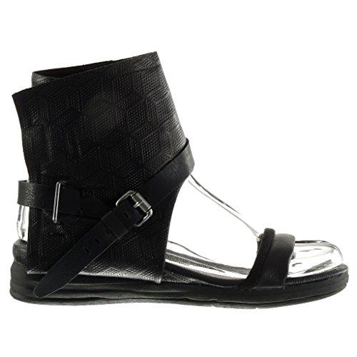 Angkorly Damen Schuhe Sandalen Stiefeletten - Offen - Perforiert - String Tanga - Schleife Flache Ferse 4 cm Schwarz