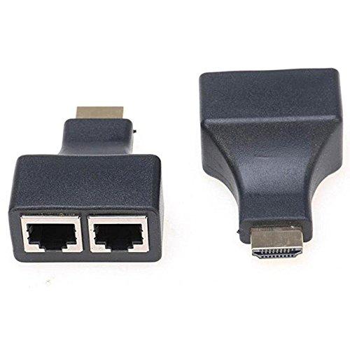 2 X Adaptateur HDMI vers Ethernet. HDMI mâle à 2 doubles RJ45 femelle Port CAT 5 / CAT 6 LAN prise Ethernet.