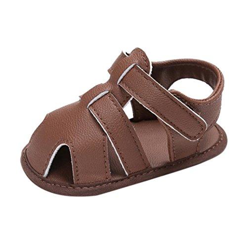 FNKDOR Baby Jungen Sandale Schuhe Rutschfest Lauflernschuhe (12-18 Monate, Braun)