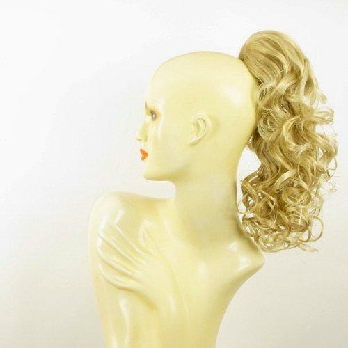 Postiche queue de cheval extension femme bouclée 40 cm blond doré méché blond très clair ref 3 en 24bt613