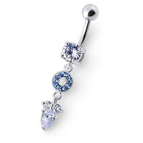Bijou de nombril Cercle pierres fantaisies avec Fleurs pendants en Argent Sterling 925 avec Banane 14Gx3/8(1.6x10MM)en acier chirurgical 316L et Boule 5MM. Lavender