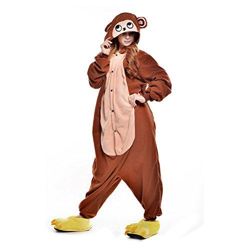 LSHEL Erwachsenen Tier Pyjama Jumpsuit Cosplay Unisex Cartoon Karneval Halloween Kostüm Fleece Overall Pyjamas, AFFE, XL (empfohlene Höhe 173-186 cm)