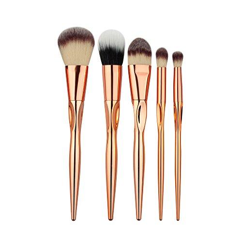 Dosige 5 pcs Set Multifonctionnel Pinceaux Professionnel Pinceaux de Maquillage Yeux Brosse de Brush Cosmétique Professionnel - Or Rose