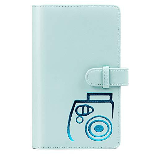 CAIUL Compatible Cubierta de PU Mini Álbum Dedicado a Cámaras Instax Mini 9 8 8+ 90 70 7s 25 26 50s, Polaroid PIC-300 Z2300, Tarjetas de crédito(96 Fotos, Azul Hielo)