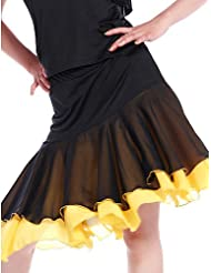 DESY Jupes(Multicolore,Mousseline Viscose,Danse latine Salle de bal)Danse latine Salle de bal- pourFemme Entraînement Danse latinePrintemps, , xl