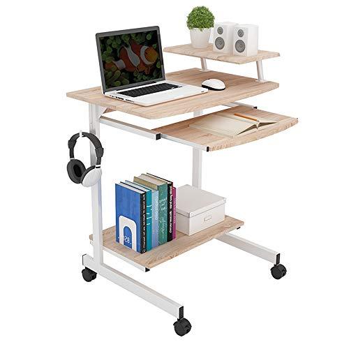 Tische ZR Wandtisch- 2 Ebenen Regal Tastatur Regal W/Drucker Regal Stand Home Office PC Laptop Möbel Studie Gaming Desktop Workstation -Platz sparen (Farbe : Holzfarbe) -