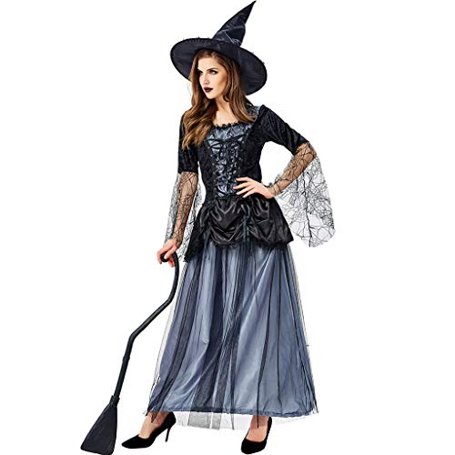 Größe Hexen Plus Kostüm - LLCOFFGA Halloween Hexe Kostüm Party Knospe Seide Gaze Temperament Kleid Blau Schwarz Hexe Uniform Halloween Cosplay Kostüm,L