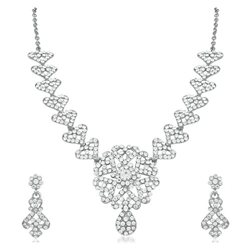 Apara Floral Rhodium Austrian Diamond Necklace Set For Women