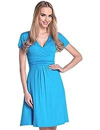 Glamour Empire -Donna abito estivo vestito jersey manica corta gonna  svasata 108 089a945fa3e
