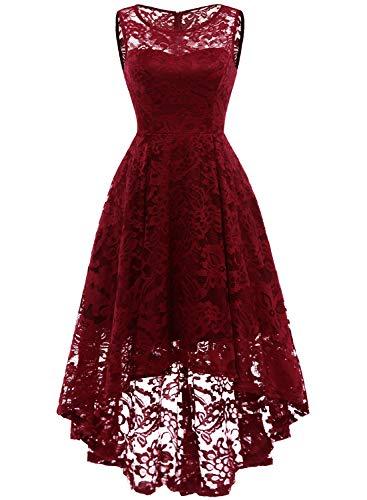 MuaDress MUA6006 Elegant Kleid aus Spitzen Damen Ärmellos Unregelmässig Cocktailkleider Party Ballkleid Tiefrot M -