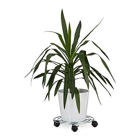Relaxdays Porte plantes à roulettes avec freins support pot de fleurs rond en métal HxlxP: 6 x 32 x 32 cm, argenté
