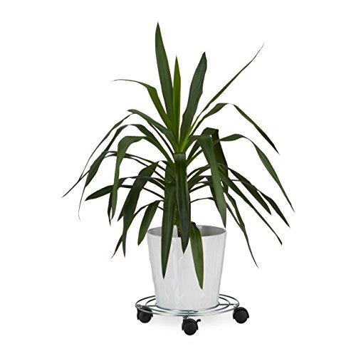 Relaxdays Pflanzenroller, Mit Bremse, Blumenroller, Rund, HBT: ca. 6 x 32 x 32 cm, silber