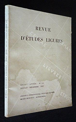 Revue d'études ligures (XXIIIe année, n°3-4, juillet-décembre 1957)