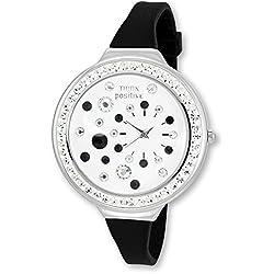 Think Positive Women's Stardust Analogue Watch Bracelet Silicone Black Quartz UTP1011S