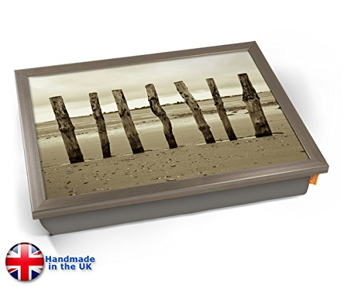 Beach Posts Sea Seaside Coast Cushion Lap Tray Kissen Tablett Knietablett Kissentablett - Chrome Effekt Rahmen - Post Tulip
