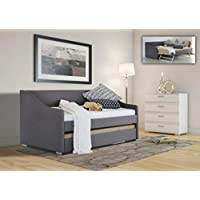 Comfy Living Fabric Day Bed with Trundle Upholstered Grey Single Pull Out Guest