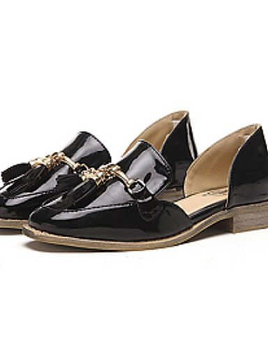 ZQ Scarpe Donna-Mocassini-Casual-Comoda-Piatto-Vernice-Nero / Tessuto almond , black-us8 / eu39 / uk6 / cn39 , black-us8 / eu39 / uk6 / cn39 almond-us6 / eu36 / uk4 / cn36