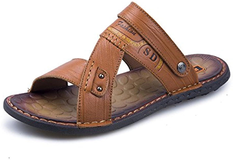 LEDLFIE Sandalen Mode Freizeitschuhe Herren Strandschuhe LightBrown 40