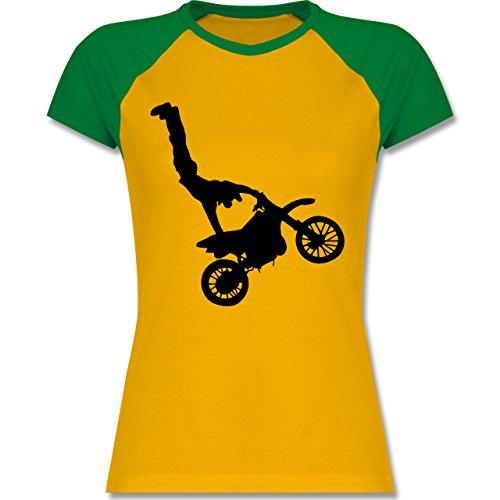 Motorsport - Motorrad Stunts - XXL - Gelb/Grün - L195 - zweifarbiges Baseballshirt / Raglan T-Shirt für Damen (Raglan-motorrad)