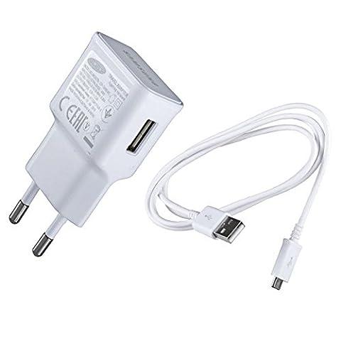 Original Samsung Modulares Micro USB Handy Ladegerät EPTA10 – Ausgangsleistung 2 Ampere - Ladeadapter und USB Ladekabel / Datenkabel in der Farbe Weiß - für kompatible Samsung Mobiltelefone – (Bulk verpackung)