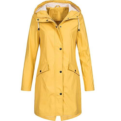 Frauen solide Regenjacke MYMYG Hoodie im Freien Wasserdichter Langer Mantel Winddicht Maritime Jacke Regenmantel ArmyGreen Gelb Himmelblau Pink Schwarz(Gelb,EU:46/CN-4XL)
