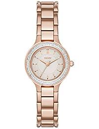 DKNY  NY2393 - Reloj de cuarzo con correa de acero inoxidable para mujer, color rosa