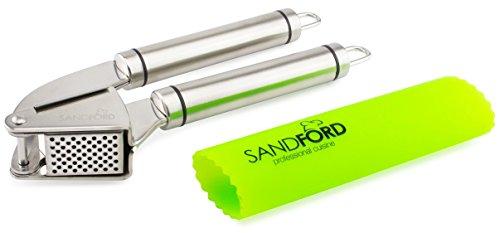 Sandford Knoblauchpresse | Edelstahl-Presse mit gratis Silikon-Knoblauchschäler | Knoblauchschneider Set mit Schäler/Knoblauch-Rolle | zur Verarbeitung von Knoblauch und Ingwer | spülmaschinenfest