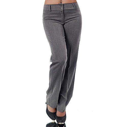 Diva-Jeans H595 Damen Business Stoffhose Elegante Bootcut Hose Classic Schlaghose Schlag, Farben:Grau, Größen:42 XL (Etikett T5)