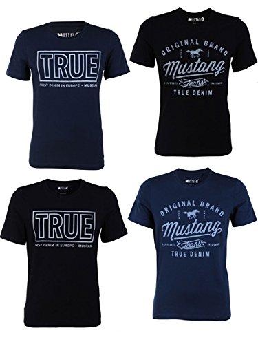 Mustang 4er Pack Herren T-Shirt mit Frontprint und Rundhalsausschnitt - Farbmix blau und schwarz Farbmix (P2)