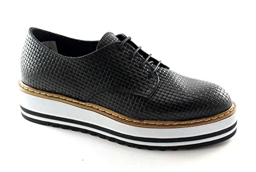 DIVINE FOLLIE 9501 nero scarpe donna francesina lacci platform 36