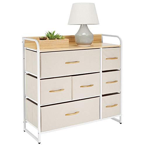 mDesign Kommode mit 7 Schubladen - breiter Schubladenschrank für Schlafzimmer, Wohnzimmer oder Flur - Kleiderkommode aus Metall, MDF und Stoff - cremefarben und weiß