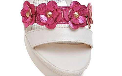 Wealsex Sandales Paillettes Fleur Compensées Femme Plateforme Bout Ouvert Bride Boucle rose rouge