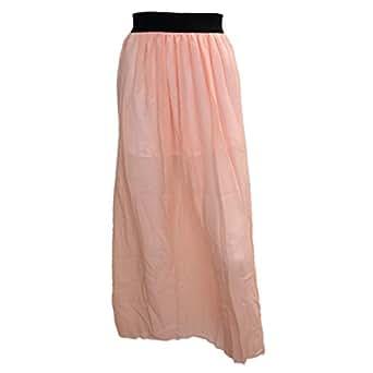 SODIAL(R) Jupe Longue en Mousseline de Soie Femmes Cheville Longue Taille Elastique Jupe Plissee Beige Peachy