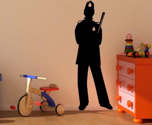 tte of Englisch Polizist/Bobby groß Wandtattoo, schwarz, Medium: 45cm x 130cm / 18