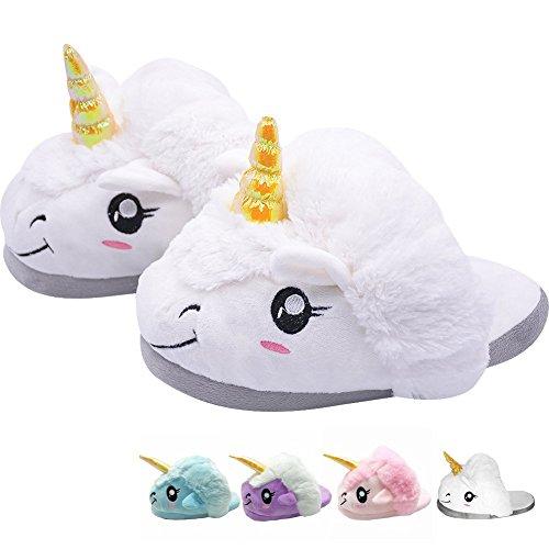 Unicorno peluche led pantofole invernali interno calde ragazzo ragazza unisex morbide ciabatte compleanno regalo cosplay taglia europea 35-43 (taglia unica, bianco 1)