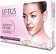 Lotus Radiant Pearl Facial Kit for Lightening & Brightening skin with Pearl dust & Green Tea, 4 easy s