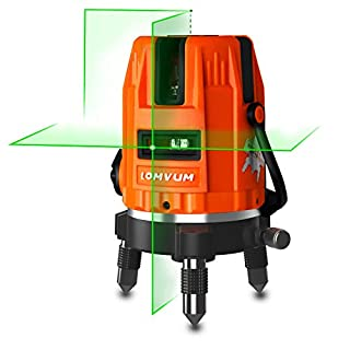 Self-Leveling Laser Level,LOMVUM Highlight Green Vertical and Horizontal Cross Line Laser Level 360 Rotary Kit with Outdoor Mode and Tilt Mode (3 Lines)