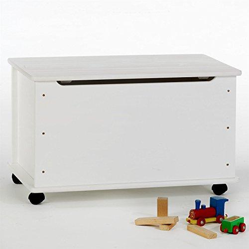 Spielzeugtruhe Spielzeugkiste Truhe ELISA Kiefer massiv in weiß lackiert, integrierter Klemmschutz, 4 Sicherheitsdoppelrollen -