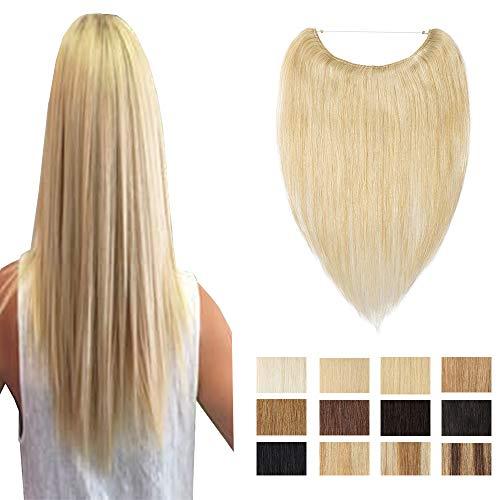 Extension filo invisibile capelli veri umani filo trasparente pezzo unico 70g 24 biondo naturale 50cm