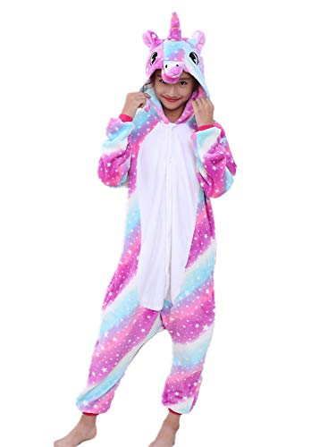 Erwachsene Unisex Einhorn Tiger Lion Fox Onesie Tier Schlafanzug Cosplay Pyjamas Halloween Karneval Kostüm Loungewear (Unicorn Star-Sky New, S passt Höhe 145-155cm)