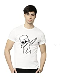 MR.UNIQUE Dj Marshmellow Dab Printed Round Neck Half Sleeve Cotton White Colour Tshirt