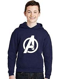 Avaatar Navy Blue Hooded Superhero Sweatshirt for Kids (Avenger, 13-14 Years)