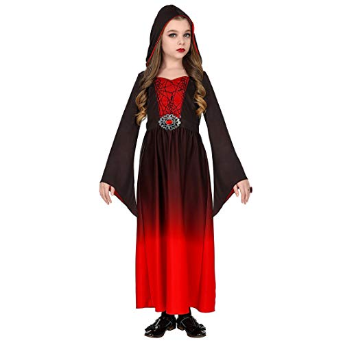 Amakando Kapuzenkleid für Mädchen Grufti / Rot-Schwarz in Größe 158, 11 - 13 Jahre / Dark Wave Outfit Hexe Vampir / Passend gekleidet zu Halloween & Horror-Party (Gothic Enchantress Kostüm)