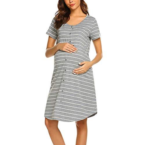Conquro Vestido de Maternidad a Rayas con botón a Rayas de Lactancia Materna Hospital Mujer Embarazada Ropa para Dormir Premamá Embarazada Maternidad Lactancia Pijama Manga Corta