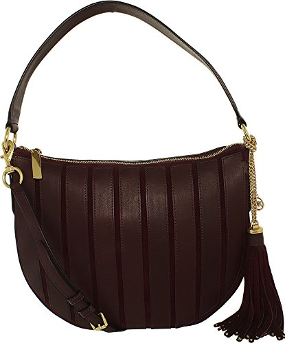 Michael Kors Women's Medium Brooklyn Applique Suede Leather Shoulder Bag Hobo - Plum (Hobo Medium Michael Michael Womens Kors)