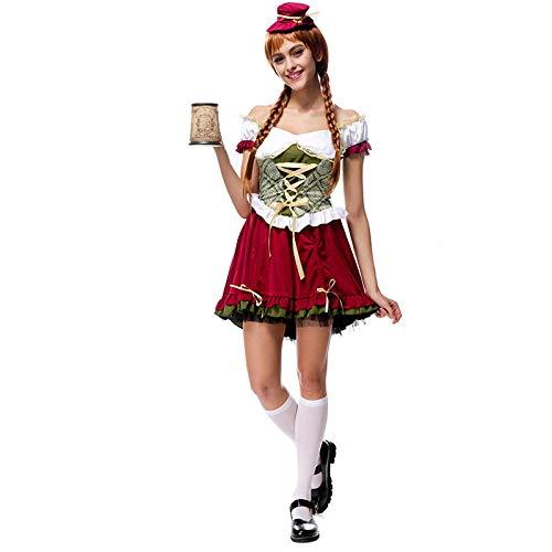Sexy Frauen Deutsch Bayerisches Oktoberfest Dirndl Kostüm Bier Mädchen Kostüm Halloween Fantastisches Kostüm@M_Oktoberfest - Deutsches Bier Mädchen Kostüm Frauen