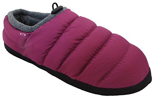 Gesteppte Boot Hausschuhe (Daunen-Hausschuhe von RTB, gesteppt, mit warmem Fleece gefüttert, für Herren, Damen, Mädchen und Jungen, violett - violett - Größe: 36/37 EU)