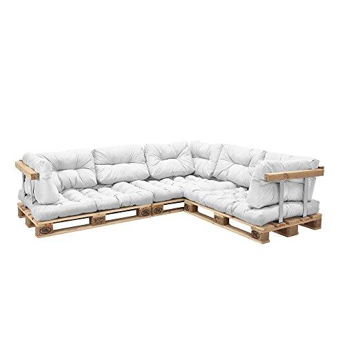 [en.casa] Palettenkissen - 11-teilig - Sitzpolster + Rückenkissen [weiß] Paletten-Sofa In/Outdoor