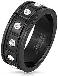 Paula & Fritz® Anillo de acero inoxidable acero quirúrgico 316L Partner Anillo Negro 8mm de ancho costura cuadrado con 12circonitas farblosene Ring tamaños 60(19)–66(21) R de h9936K
