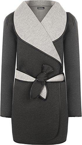 WEARALL Damen Übergröße Kragen Wasserfall Liniert Lang Hülle Belted Jacke Damen Mantel - Grau - 40-42 (Belted Kimono-gürtel)